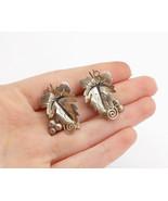 MEXICO 925 Sterling Silver - Vintage Single Leaf Spiral Drop Earrings - ... - $32.26
