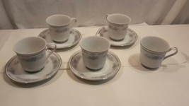 Christine Fine Porcelain China Cup Saucer 4 sets 9pcs Blue Flower Platin... - $28.02