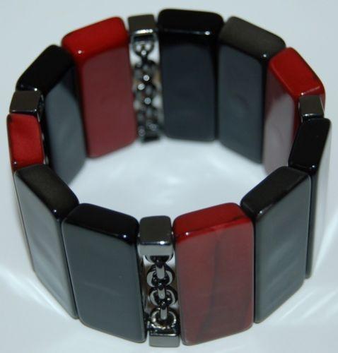 Black Red Chain Beaded Statement Bracelet Plastic Elastic Slip On 2 Inches Wide