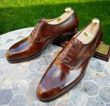 Men's Handmade brown patina leather Dress brogue shoes leather wingtip shoes - $199.73
