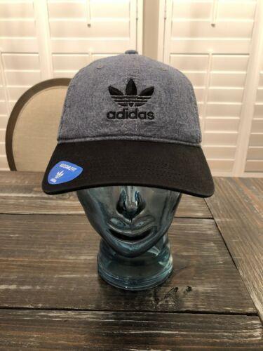 adidas Originals Trefoil Plus Precurve Strap Back Cap Hat Black Chambray  Denim 3b922a1563f9