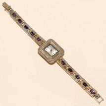 Purple Zircon White Topaz Wrist Watch 925Sterling Silver Engagement Fine... - $52.55
