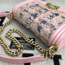 100% AUTH CHANEL Pink Tweed Leather Limited Edition Medium Boy Flap Bag GHW image 4