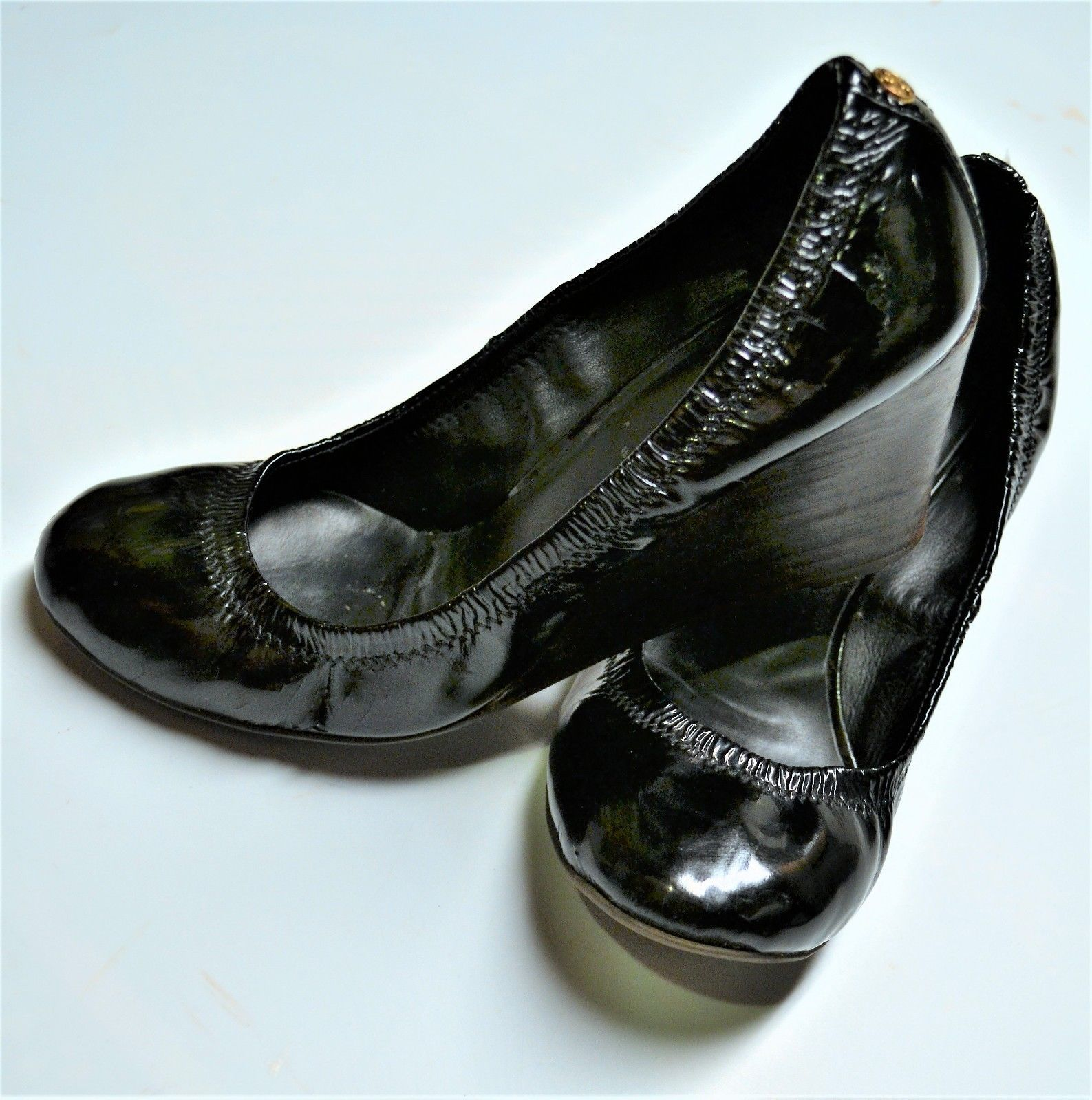 9d98bfa2117 Tory Burch Black Eddie Patent Leather Wedge Slip-on Shoes Size 8 M