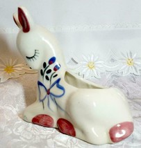 """VINTAGE WHITE BABY FAWN WITH BLUE BOW PORCELAIN PLANTER 5 3/4"""" X 7"""" X 3"""""""