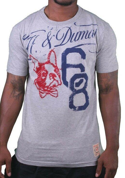 Hawke & Dumar '68 Scritta Bulldog Francese Grigio Erica O T-Shirt 2XL Nwt