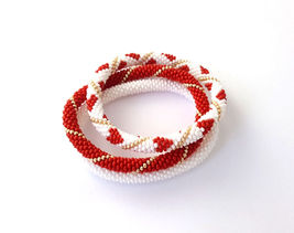 Nepal beaded rope bracelet set, roll on bangle red  mothers day gift bra... - $21.00+