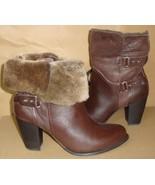 UGG JAYNE Stout Leather Sheepskin Cuff Buckle Ankle Boots Size US 9 NIB ... - $115.78