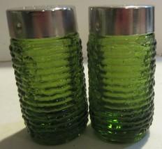 Vintage ANCHOR HOCKING Soreno Avocado Green Glass Salt & Pepper Shakers  - $15.15