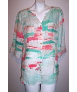 JM Collection Shirt 12 Artsy Linen Roll Tab Sleeve Button Up Womens Shir... - $18.50