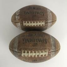 2 Original Vintage Old SPALDING J5-V Advance Top Grain Leather Football  - $48.20
