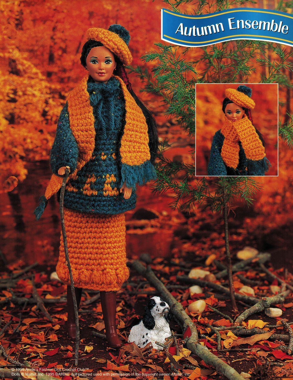 "4X Barbie 11-1/2"" Doll Winter Jog Ski Jacket Hat Boot Scarf Crochet Pattern image 3"