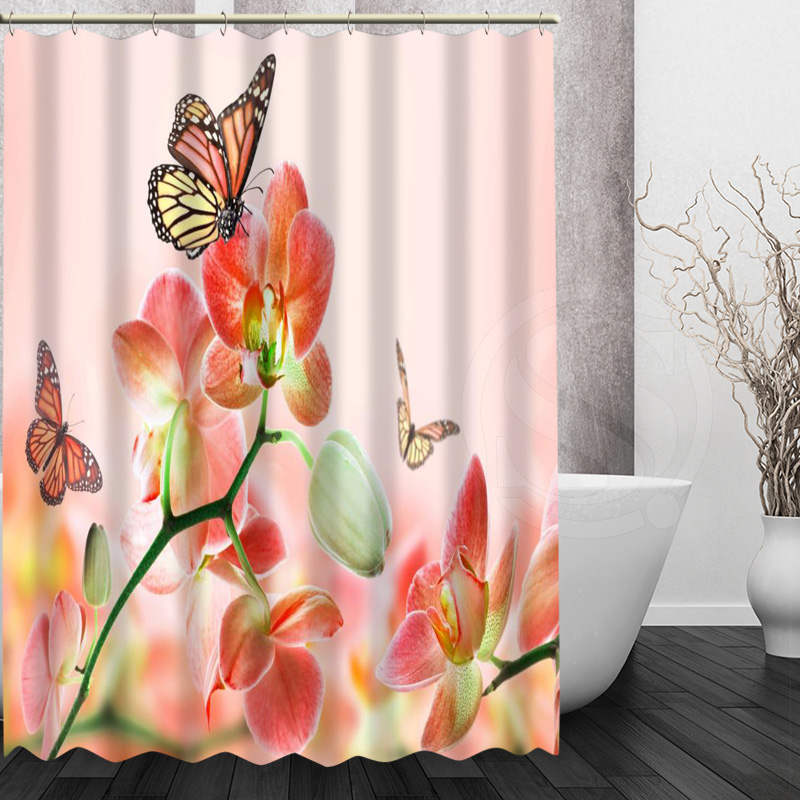 Best Nice Custom Orchids Flower Shower Curtain Bath Curtain Waterproof Fabric Fo image 4