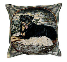 "ROTTWEILER Throw Pillow Tapestry New 17x17"" Dogs Made in USA Rottie - $44.54"