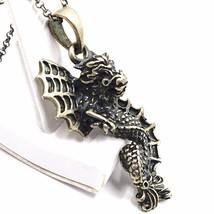 Necklace and pendant, silver 925, bruni satin, dragon, chain rolo image 2