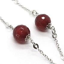 Silver 925 Necklace, Carnelian Faceted, Heart Sloped Pendant image 4