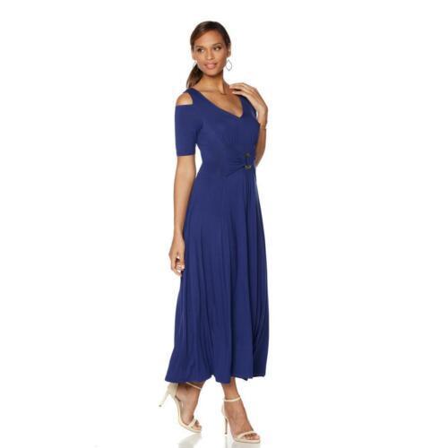 LIZ LANGE Size PS Cold Shoulder Short Sleeve Ultimate Maxi Dress BLACK