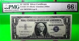 MONEY US $1 1957 B  SILVER CERTIFICATE PMG  GEM UNC FR#1621 VALUE $200 - $180.00