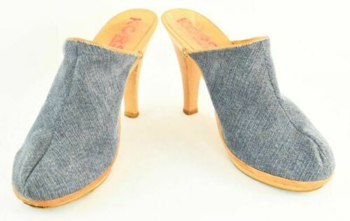Womens Michael Kors Wooden Chunky Heel Clogs Mules Sz.9  Blue Denim Slides Shoes