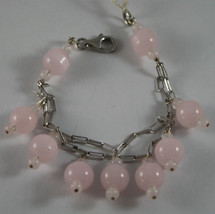 .925 RHODIUM SILVER DOUBLE WIRE BRACELET WITH PINK CRYSTALS image 1