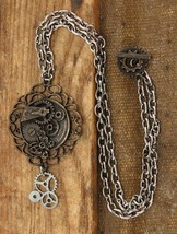 SteamPunk Cosplay Victorian Butterfly Gears Chain Necklace NEW UNUSED - $11.64