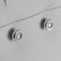 18K WHITE GOLD MINI ROUND EARRINGS DIAMOND DIAMONDS 0.06 CT, MADE IN ITALY image 2