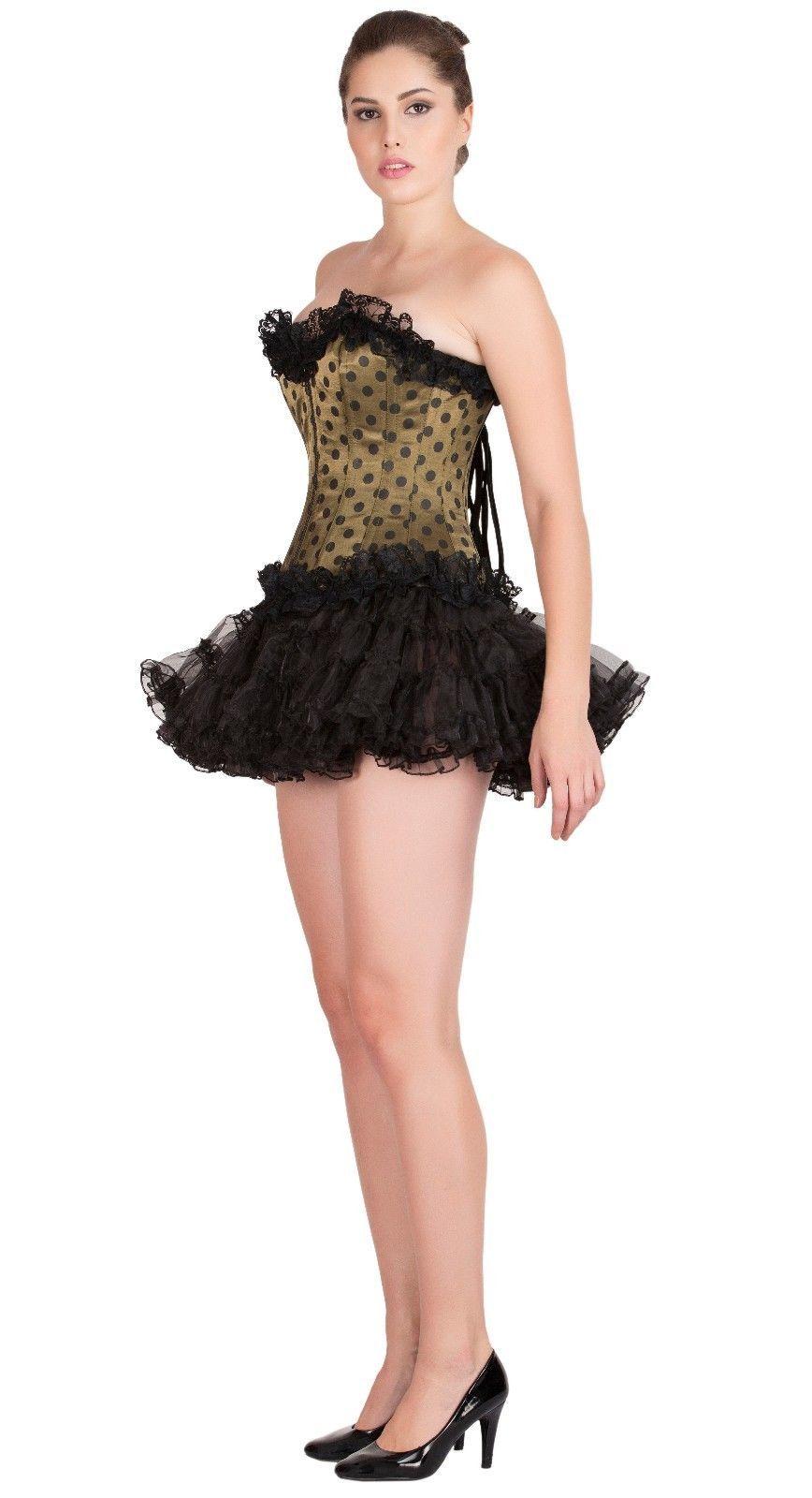 Olive Green Satin Polka Dots Top Tutu Skirt Overbust PLUS SIZE Corset Prom Dress