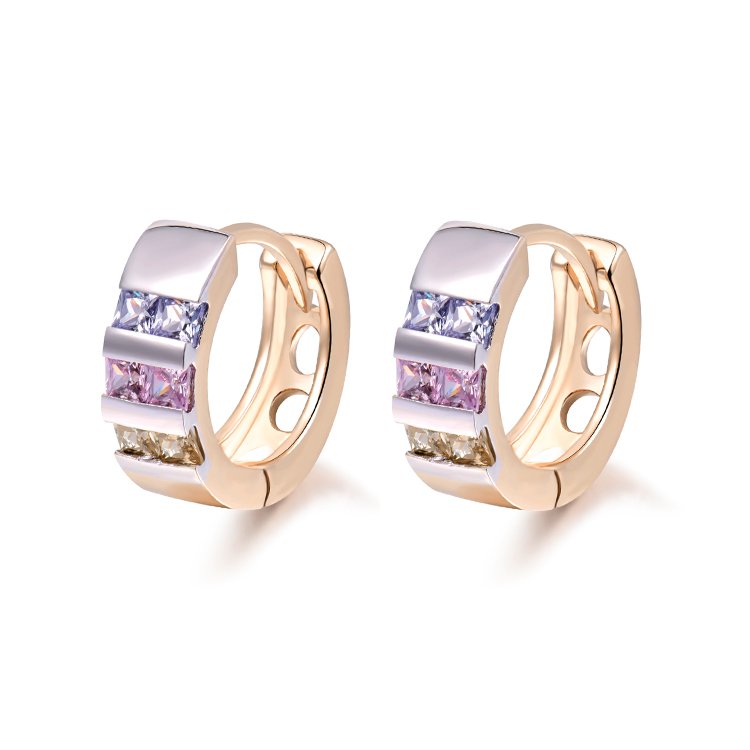 Gold color hoop huggie earrings for women stone crystal cc earings fashion jewelry free shipping