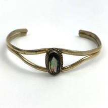 Mexico Abalone Cuff Bracelet Vintage Silver Tone  - $17.77