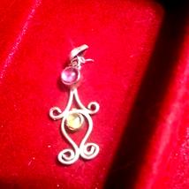 Vintage amethyst peridot sterling silver pendant - $23.76