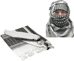White & Black Shemagh Tactical Desert Keffiyeh Arab Heavyweight Scarf - $13.99
