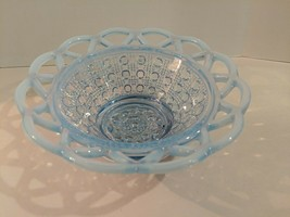 Imperial Glass KATY Ice Blue Opalescent Lace Edge Button Candy Nut Dish Basket - $24.70