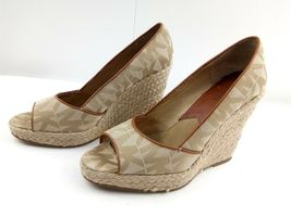 MICHAEL KORS Womens Wedges 7.5 Tan Cabana Peep Toe Platform Espadrilles $144 image 4