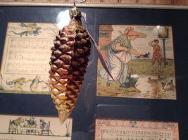 Brown Pine Cone w Gold Hand Blown Glass Ornament Tree Old German Christmas image 4