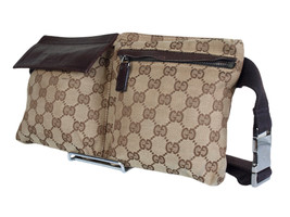 Authentic Gucci GG Pattern Browns Canvas Leather Waist Belt Bag GW1884 - $269.00