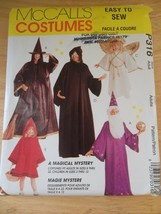 McCall's Costume Pattern P316 Adult & Kids Halloween Witch Wizard Angel ... - $12.95