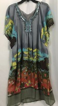 Madison Paige II Gray, Blue, Brown Print V Neck Embellished Tunic Blouse... - $35.14