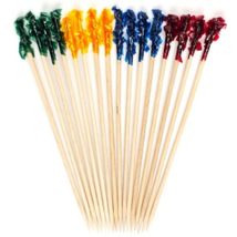 Rainbow multi color frill wooden picks tooth picks appetizer picks - $5.99