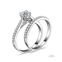 0.75 ct Round Cut 925 Sterling Silver Cubic Zirconia Engagement Ring Set - $51.28