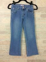 Levis Youth Girls Boot Cut Jeans Size 12 Adjustable Waist Blue Denim Pants - $9.89