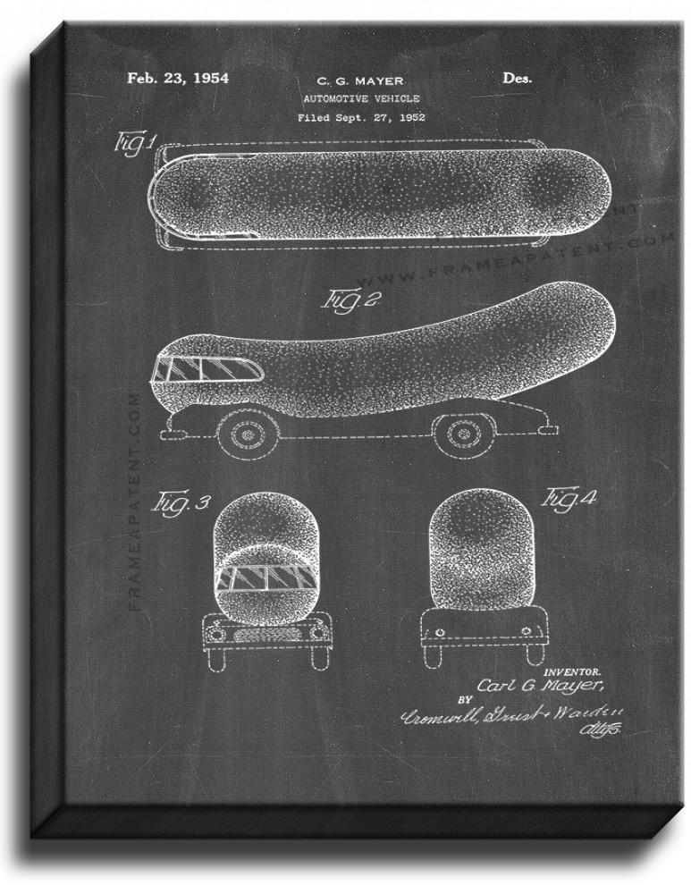 Primary image for Oscar Mayer Wienermobile Patent Print Chalkboard on Canvas