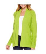 Liz Claiborne Long-Sleeve Open-Front Cardigan Size L Lime Twist Msrp $54... - $19.99