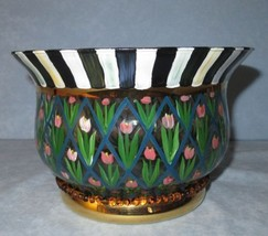 MacKenzie Childs Large Circus Glass Courtly Stripe Tulip Flowers Serving... - $79.20