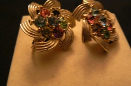 Vintage Pair of Sarah Coventry Gold Tone Multi Color Rhinestone Clip on ... - $12.86