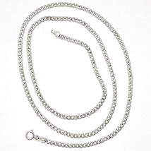 18K WHITE GOLD GOURMETTE CUBAN CURB CHAIN 2 MM, 17.7 inches, NECKLACE image 1