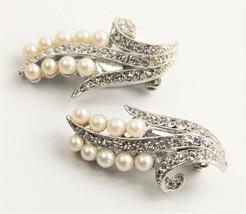 ESTATE VINTAGE Jewelry SUPER HIGH END FX PEARL & PAVE RHINESTONE EARRINGS - $25.00
