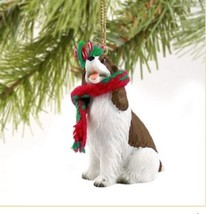 SPRINGER SPANIEL (LIVER WHITE)  DOG CHRISTMAS ORNAMENT HOLIDAY Figurine ... - $9.50
