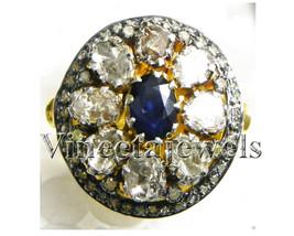 Polki Vintage Repro. 1.25Ctw Rose/Antique Cut Diamond Silver Antique Ring - $412.38