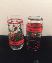 Vintage 70s Stained glass holly Christmas cocktail glasses image 5