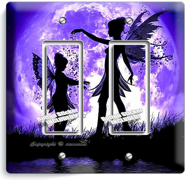LITTLE FAIRY GIRLS PURPLE MOON 2 GFCI LIGHT SWITCH WALL PLATE BEDROOM ROOM DECOR
